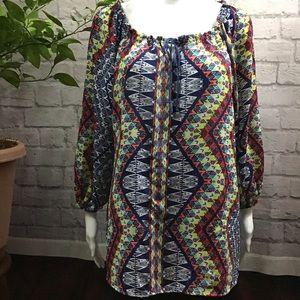 🌻 SALE! 3/$20 Colorful bohemian large peasant top